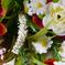 искусственные цветы букет роз с добавкой кашка цвета фиолетовый с белым 15