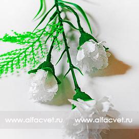 ветка гвоздики(пластмассовая) цвета белый 6