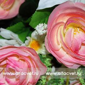 камелии, лилии, герберы цвета розовый с белым 14