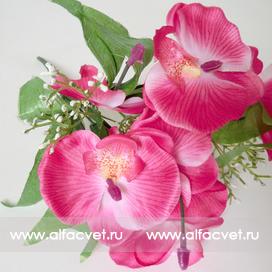 букет орхидей с добавкой травка цвета розовый 5