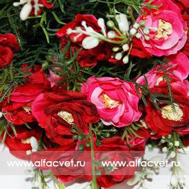 букет роз цвета красный с розовым 42