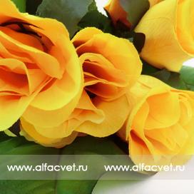 букет роз с крупными листьями цвета желтый 1
