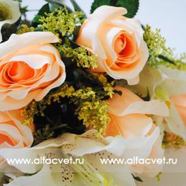 розы и лилии цвета оранжевый с белым 16