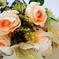 искусственные цветы розы и лилии цвета оранжевый с белым 16