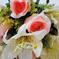 искусственные цветы розы и лилии цвета белый с розовым 19