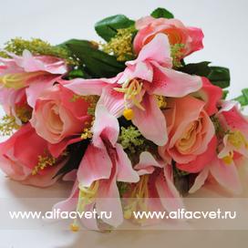 искусственные цветы розы и лилии цвета розовый 5