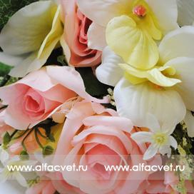 розы и орхидеи цвета белый с розовым 19
