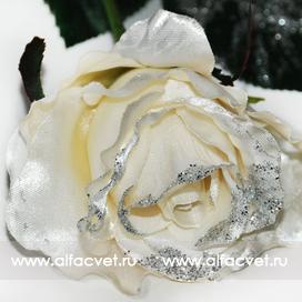 роза с блестками цвета белый 6