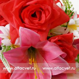 роза-лилия цвета красный с розовым 42