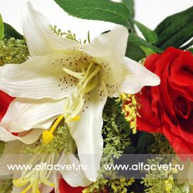 розы и лилии цвета красный и белый 28