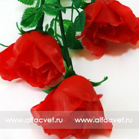 розы пластмассовые цвета красный 4