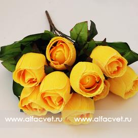 искусственные цветы розы с каплями цвета желтый 1