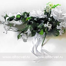 букет свадебный роза + лилия цвета белый 6