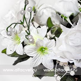 букет свадебный роза + мал-я без длинной ветки цвета белый 6