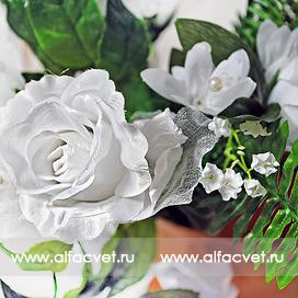 букет свадебный роза + мал-я с длинной веткой цвета белый 6