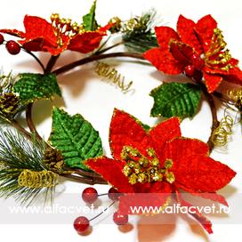 рождественский венок цвета красный 4