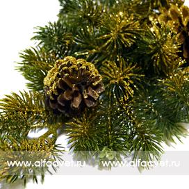 ветка елочки с шишкой и блестками цвета золотой 62